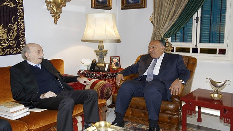 جنبلاط عرض التطورات مع وزير خارجية مصر في كليمنصو