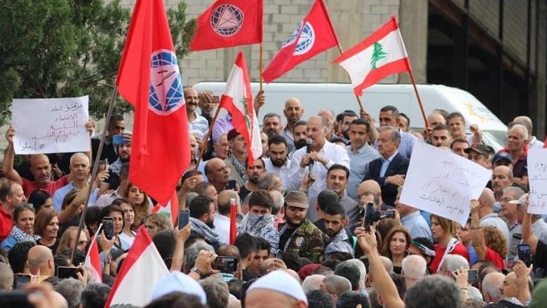تظاهرة ضخمة على دوار بعقلين- بيت الدين...وعبدالله يدعو لاسقاط العهد
