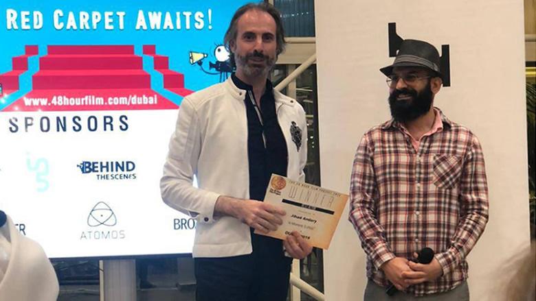 الممثل جهاد الأندري يفوز بجائزة أفضل ممثل في مهرجان في الإمارات