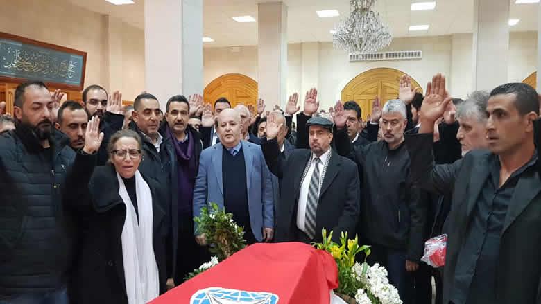 """""""التقدمي"""" وبعقلين يودعان المناضل جميل أبو عياش في مأتم حاشد"""