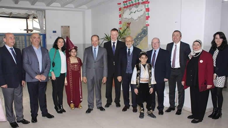 """شهيب تفقّد وبيرت """"مدرسة محمد شامل"""" وشدّد على دعم لبنان في بروكسل"""