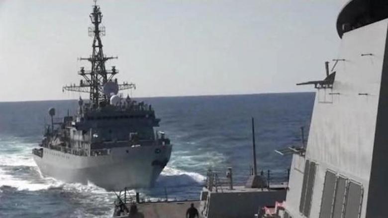 سفينة حربية روسية توشك على الاصطدام بمدمرة أميركية!
