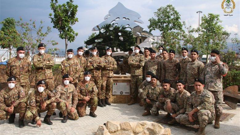 الجيش: إحتفال لمناسبة انتهاء عمل الفريق الإيطالي المشارك في رفع الأنقاض