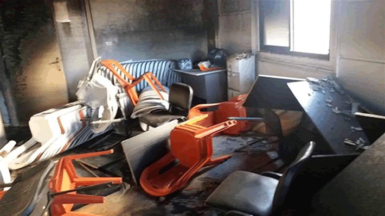 إحراق وتكسير مكتب التيار الوطني الحر في عكار