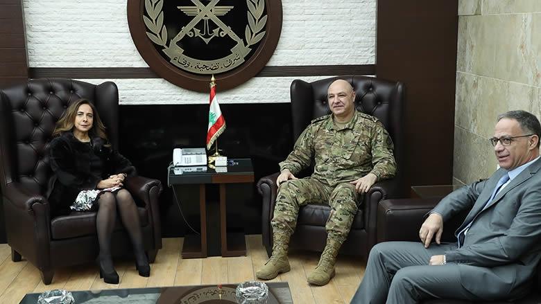 الوزيرة عكر تبحث الأوضاع الأمنية مع قائد الجيش