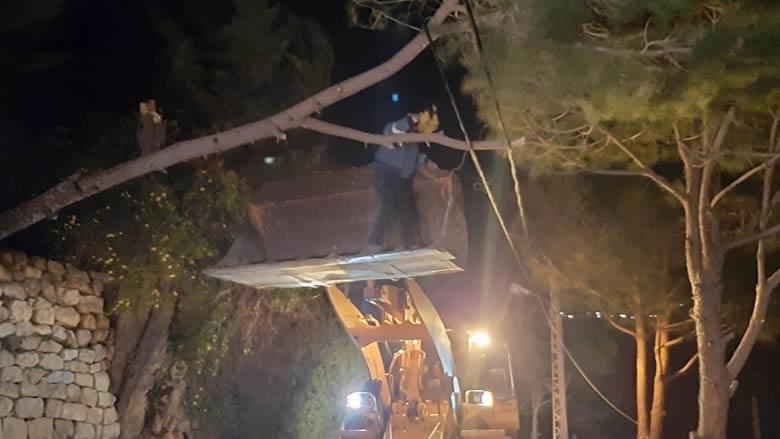 الرياح تقتلع أشجاراً وتقطع عدداً من الطرقات في الشوف