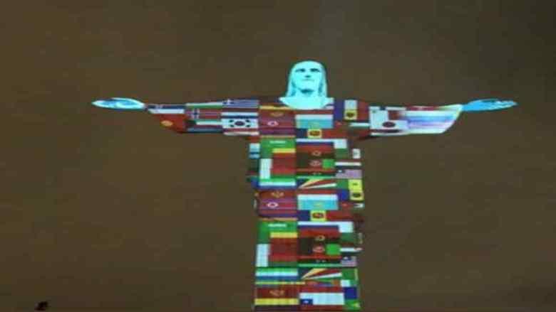 إضاءة تمثال المسيح فى البرازيل تضامنا مع مصابى فيروس كورونا