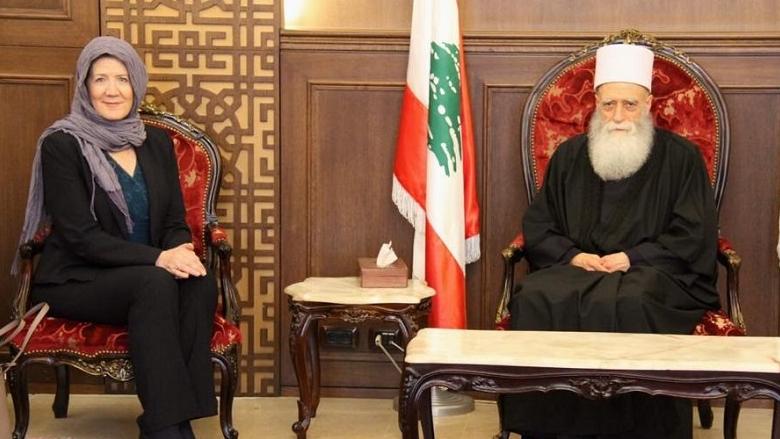 شيخ العقل التقى السفيرة الاميركية وتلقى اتصالاً من الرئيس سليمان