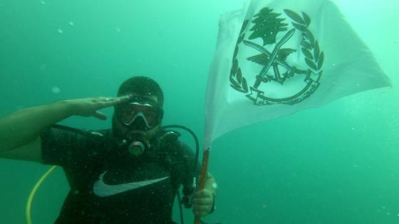 تحية من تحت الماء في صيدا لمناسبة عيد الجيش