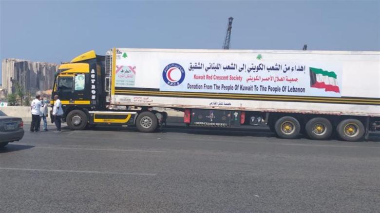 لبنان إستقبل ستّ شاحنات كويتية محملة بالمستلزمات الطبية والعينية