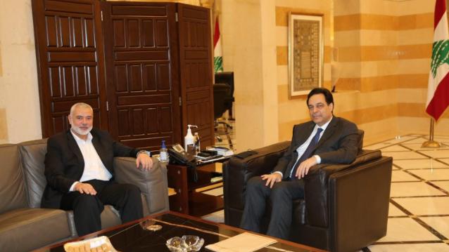 دياب عرض مع رئيس المكتب السياسي لحماس التطورات