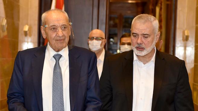 بري استقبل رئيس المكتب السياسي لحماس وسفيرة اليونان