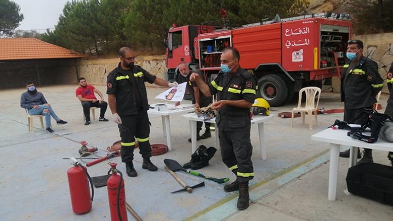 """""""مؤازرة الدفاع المدني في إخماد الحرائق"""" دورة تدريبية ميدانية في مرستي الشوف"""