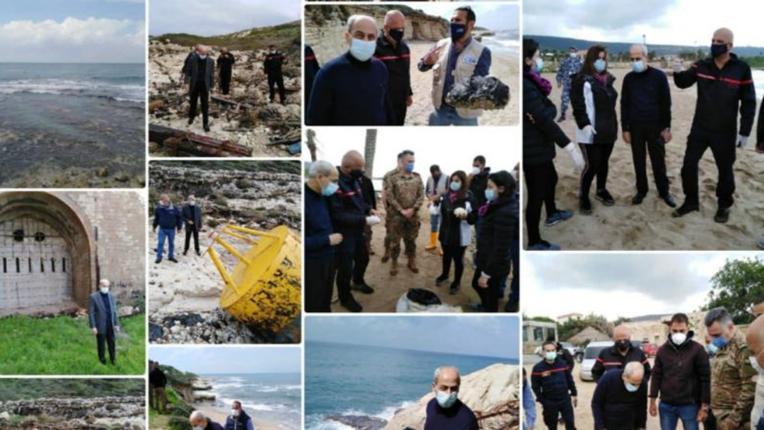 اللواء خير تفقد أضرار التلوث النفطي: نأمل أن ننتهي من تنظيف الشاطئ قبل الصيف