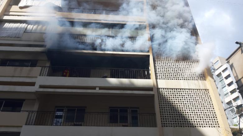 اطفاء بيروت أخمد حريقا في الأشرفية بعد إخلاء المبنى من قاطنيه