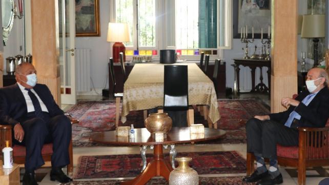 جنبلاط عرض المستجدات مع وزير الخارجية المصري