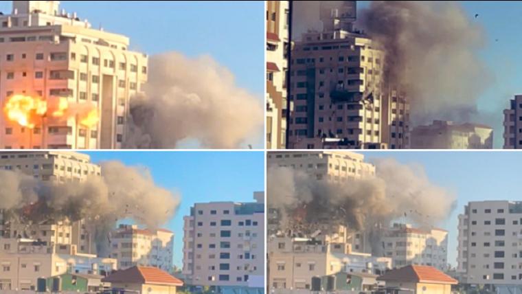 """بالفيديو والصور: بعد برج الجلاء.. اسرائيل تدمر برج """"مشتهى"""" في غزة"""