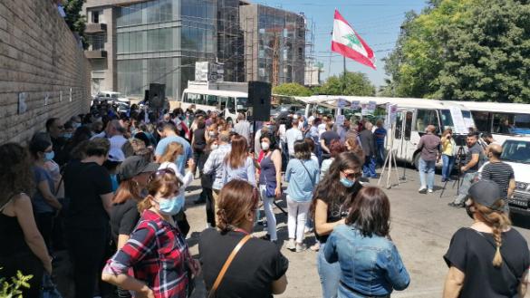 """إعتصام لـ""""جبهة التحرر العمالي"""" أمام سراي عاليه.. طليس: المعركة فتحت والزهيري: هذه مطالبنا ليكون لبنان بخير"""
