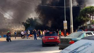 قطع طريق عام النبطية بالإطارات المشتعلة إحتجاجاً على تردي الأوضاع المعيشية