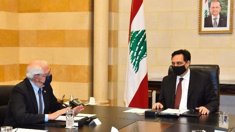 دياب عرض مع بوريل الصعوبات المالية والإقتصادية التي يمر بها لبنان