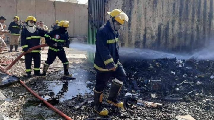 حريق بمطار المثنى في بغداد.. وإنقاذ حاوية صواريخ