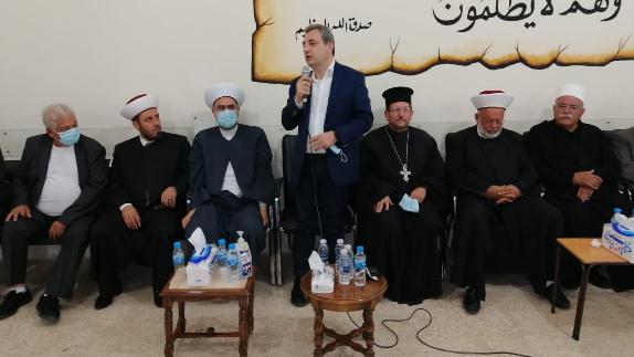 """أبو فاعور قدّم التعازي بوفاة المفتي الميس على رأس وفد من """"التقدمي"""" وأهالي راشيا والبقاع الغربي"""