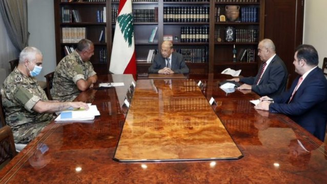 عون ترأس اجتماعا للوفد اللبناني الى المفاوضات غير المباشرة لترسيم الحدود البحرية الجنوبية